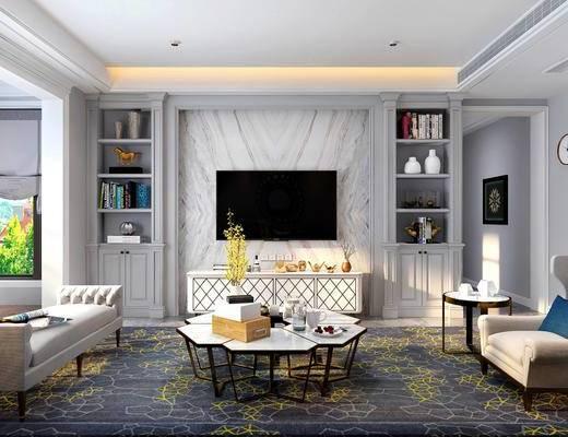 客厅, 多人沙发, 躺椅, 茶几, 单人沙发, 电视柜, 边柜, 边几, 台灯, 摆件, 装饰品, 陈设品, 装饰柜, 墙饰, 吊灯, 餐桌, 餐椅, 单人椅, 美式, 书柜, 酒柜