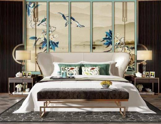 床具组合, 双人床, 床头柜, 台灯, 装饰画, 挂画, 组合画, 床尾凳, 现代轻奢