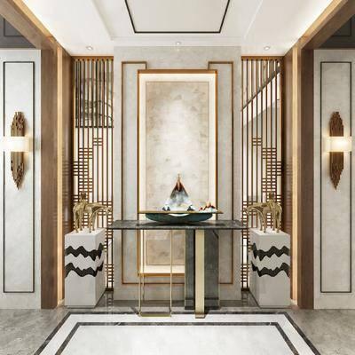 玄关走廊, 案几组合, 壁灯组合, 摆件组合, 新中式