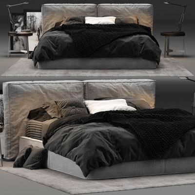 床具组合, 双人床, 床头柜, 台灯, 装饰画, 挂画, 现代