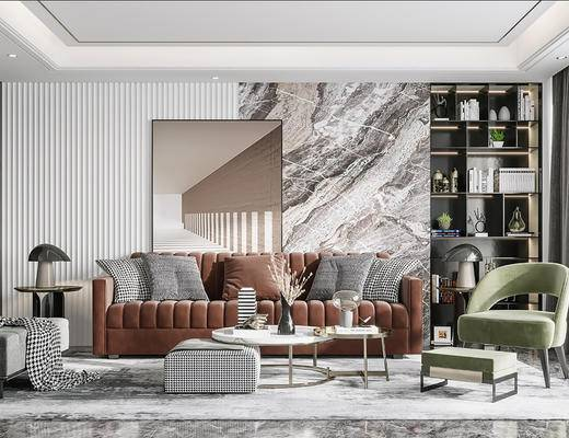 沙发组合, 茶几, 摆件组合, 装饰品, 单椅