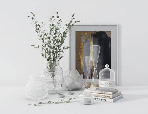 摆件组合, 装饰画, 花瓶, 植物