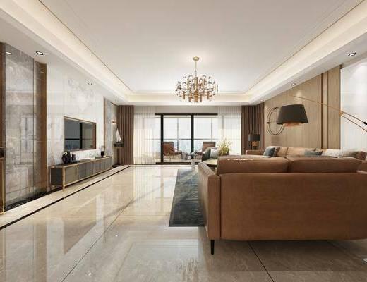 客廳, 沙發組合, 沙發茶幾組合, 吊燈, 邊柜, 擺件組合, 落地燈, 現代