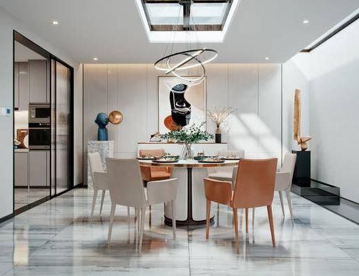 餐桌, 桌椅组合, 餐具组合, 吊灯, 装饰画, 装饰品