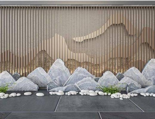 背景墙, 石头, 新中式