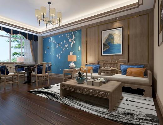 沙发茶几, 麻将桌, 吊灯, 挂画