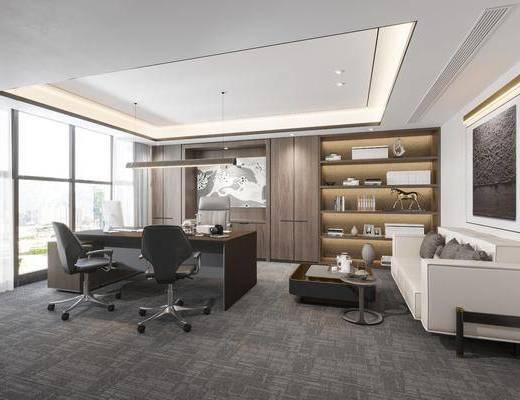 办公桌, 办公室, 沙发组合, 茶几, 吊灯