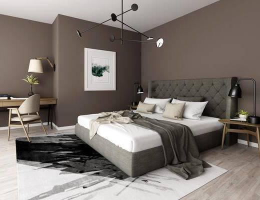卧室, 双人床, 床头柜, 台灯, 吊灯, 装饰画, 挂画, 书桌, 单人椅, 摆件, 装饰品, 陈设品, 现代
