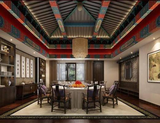 餐厅, 包厢, 餐桌, 餐椅, 单人椅, 装饰柜, 装饰画, 挂画, 吊灯, 边柜, 摆件, 装饰品, 陈设品, 新中式
