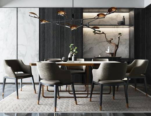 桌椅组合, 吊灯, 餐具组合, 装饰柜