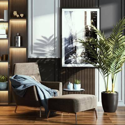 单椅, 休闲椅, 盆栽植物