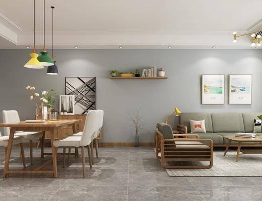 客厅, 沙发组合, 吊灯, 装饰画组合, 餐厅, 桌椅组合, 茶几