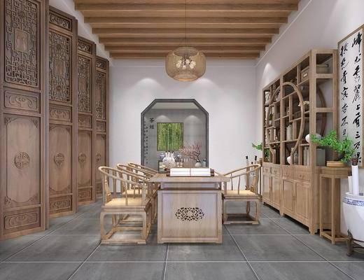 茶室, 茶桌, 茶具组合, 吊灯, 博古架