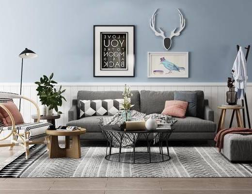 北欧沙发组合, 布艺沙发, 植物, 花瓶, 落地灯, 衣帽架, 茶几