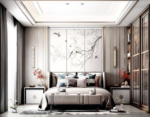 双人床, 背景墙, 床头柜, 壁灯, 衣柜
