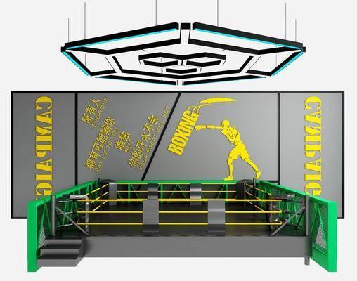 拳击台, 健身器材, 拳击场, 吊灯, 背景墙