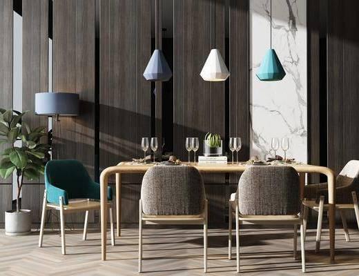 桌椅组合, 餐桌, 椅子, 吊灯, 落地灯, 盆栽, 餐具, 酒杯, 现代