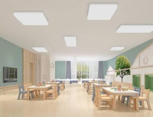 现代, 幼儿园, 课室, 书桌椅