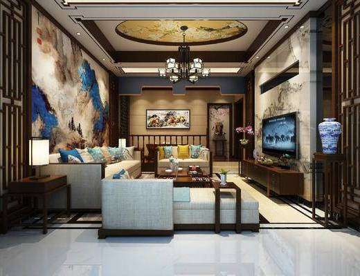 新中式会客厅, 沙发组合, 吊灯, 佛头, 中式客厅, 沙发茶几组合