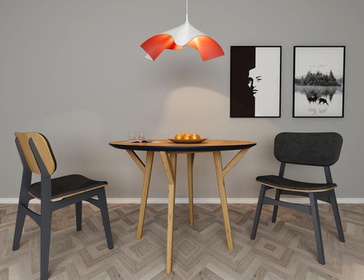 现代, 北欧, 桌椅, 吊灯, 餐桌椅, 桌椅组合