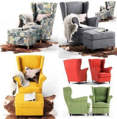 单人沙发, 布艺沙发, 脚踏沙发, 地毯, 现代, 双十一