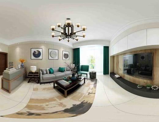 客厅, 现代客厅, 电视柜, 现代沙发, 吊灯, 沙发组合