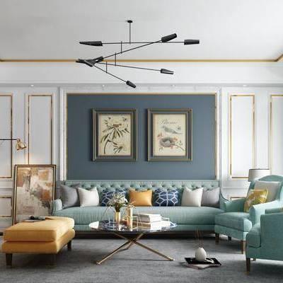 多人沙发, 单人沙发, 布艺沙发, 茶几, 摆件, 装饰画, 沙发榻, 落地灯, 台灯, 吊灯, 美式