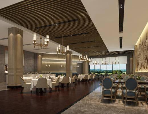 餐厅, 餐桌, 餐椅, 单人椅, 吊灯, 餐具, 现代