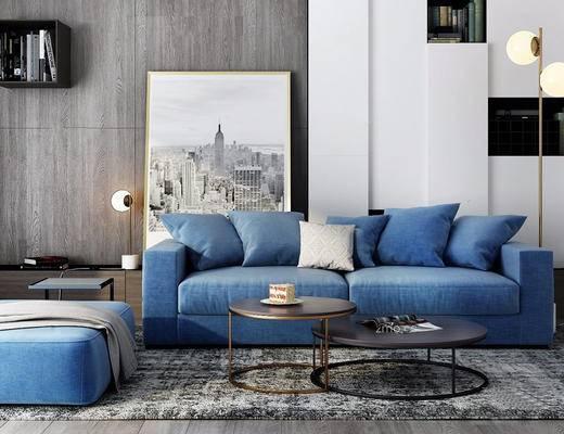北欧简约, 蓝色, 沙发茶几组合, 落地灯, 装饰画, 北欧