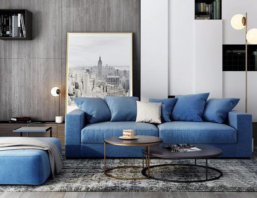 北欧简约, 蓝色, 沙发茶几组合, 落地灯, 装饰画