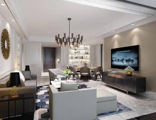 现代港式客餐厅, 现代吊灯, 沙发茶几组合, 电视, 电视柜, 酒柜
