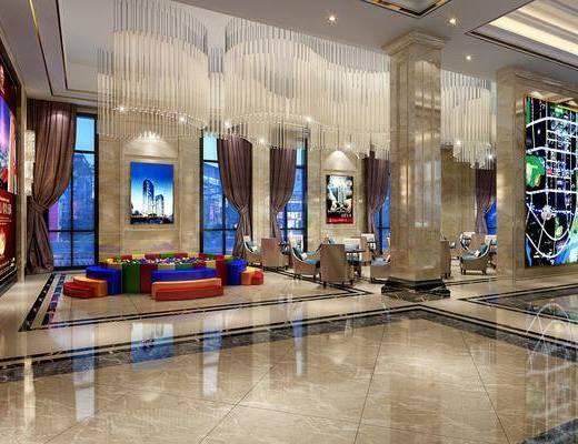 售楼处, 桌子, 单人沙发, 吊灯, 水晶灯, 装饰画, 壁灯, 现代