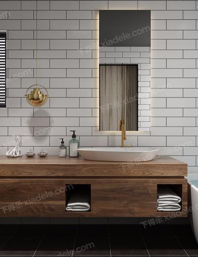 卫浴组合, 浴缸, 洗手台, 镜子, 坐厕, 毛巾, 储物柜, 卫浴小件, 现代