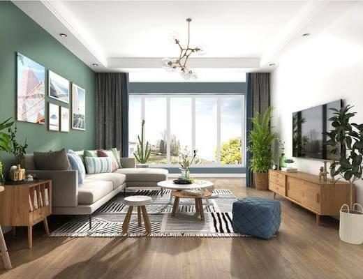 客厅, 沙发组合, 沙发茶几组合, 边柜, 盆栽, 绿植植物, 挂画组合, 摆件组合, 北欧