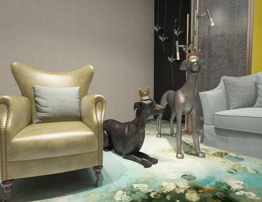 宠物狗, 单人沙发, 现代
