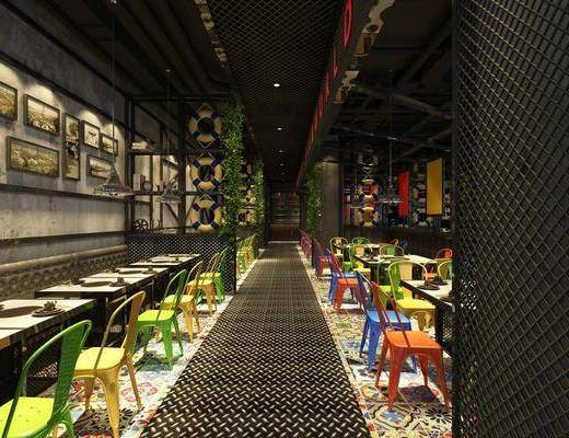 工业风, 餐厅, 餐桌, 餐椅, 吊灯, 挂画