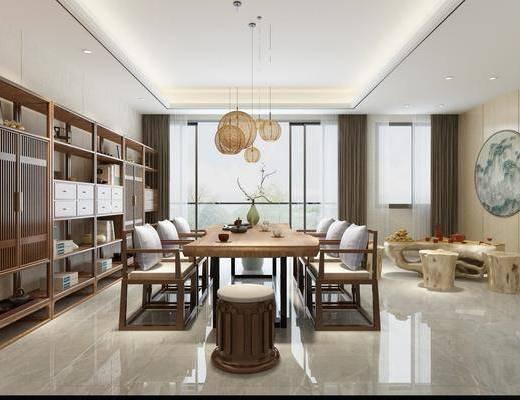 茶室, 茶桌, 单人沙发, 凳子, 装饰架, ?#37096;?#30011;, 装饰画, 挂画, 风景画, 吊灯组合, 摆件, 装饰品, 新中式
