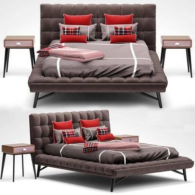 现代床组合, 现代, 床, 布艺床, 床头柜, 床品