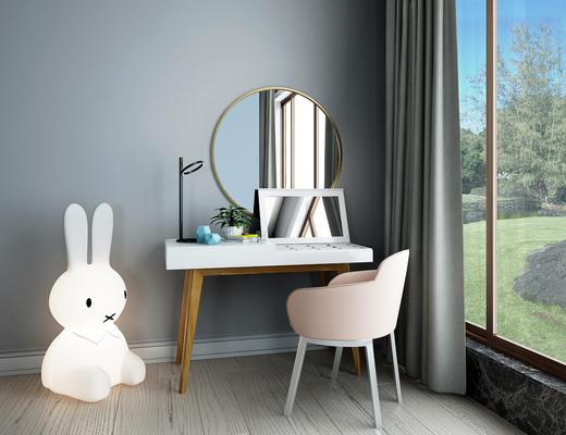北欧现代梳妆台, 女儿房, 米菲兔, 梳妆台, 椅子, 镜子