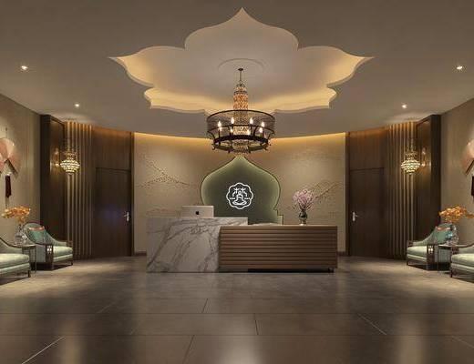 接待大厅, 大堂大厅, 前台, 壁灯, 单人沙发, 墙饰, 边几, 吊灯, 新中式