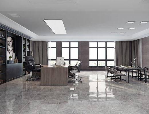 办公桌, 桌子, 单人椅, 办公椅, 装饰柜, 摆件, 装饰品, 陈设品, 装饰画, 挂画, 现代