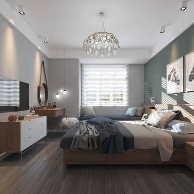 卧室, 双人床, 边柜, 梳妆台, 床头柜, 摆件, 装饰画, 吊灯, 单人椅, 现代