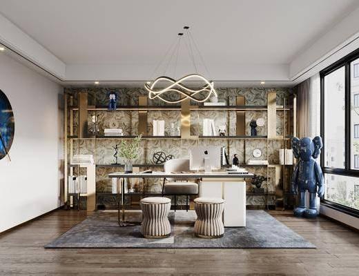 书桌, 书房, 吊灯, 书柜, 墙饰, 书籍