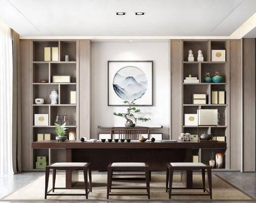 新中式, 书房, 桌椅组合