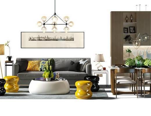 沙发组, 沙发茶几组合, 酒柜, 餐桌, 桌椅组合, 餐桌椅组合, 落地灯, 盆景, 植物
