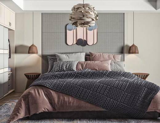 女儿房, 双人床, 吊灯, 衣柜, 摆件装饰品