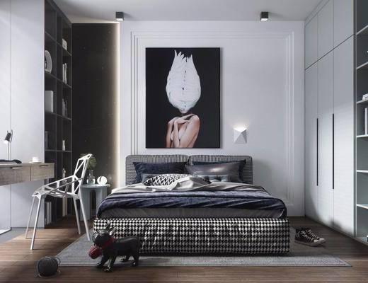 双人床, 衣柜, 书桌, 装饰柜, 装饰品, 灯具, 摆件