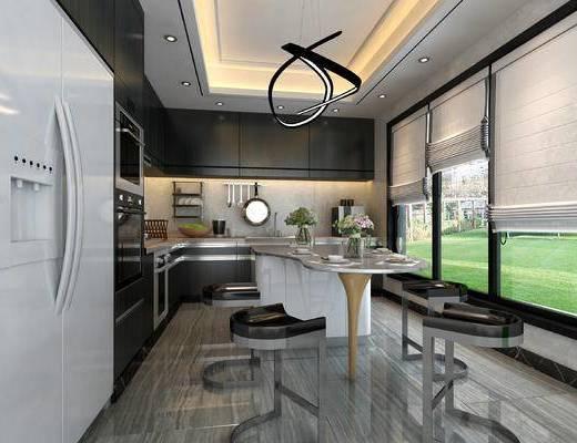 厨房, 厨房吧台, 厨房摆件, 厨房家电, 厨房挂件, 厨房餐厅, 现代厨房餐厅