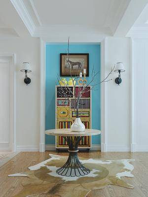 茶几, 花瓶, 壁灯, 摆件组合