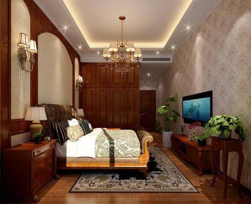 卧室, 老人房, 双人床, 床头柜, 台灯, 壁灯, 吊灯, 电视柜, 盆栽, 绿植, 植物, 盆栽花卉, 边几, 衣柜, 欧式